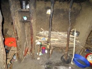 Inside Masai hut 3